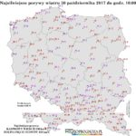 Maksymalne porywy wiatru w Polsce za minioną noc i dzisiejszy poranek