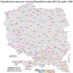 W Polsce porywy powyżej 100 km/h