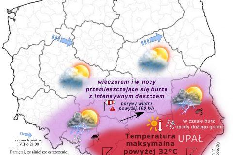 Na południu Polski najpierw duży upał, a wieczorem gwałtowne burze