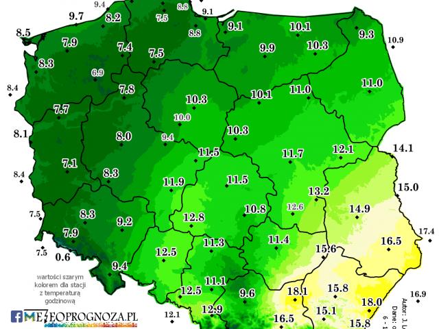 Przyszły tydzień z deszczem, a na wschodzie nadal szanse na ponad 15 stopni w dzień