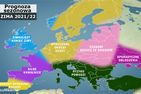 Zima dość sucha na zachodzie, ale mroźniejsza i śnieżniejsza na wschodzie